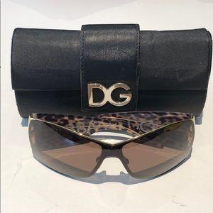 Dolce & Gabbana womans leopard shield sunglasses